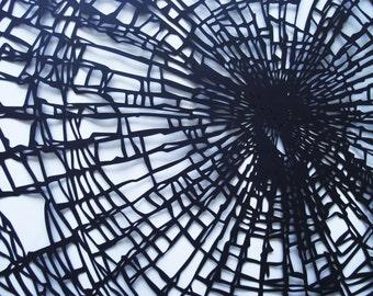 Black A3 Smashed Glass Effect Hand-cut Papercut