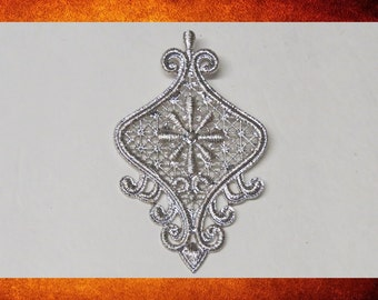 Pendant - Silver colored. Very large decorative pendant for jewelry making and crafts.  #PEN-203