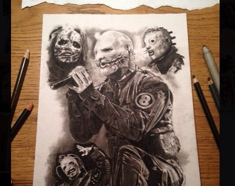 PRINT of hand drawn charcoal drawing - Corey Taylor - Slipknot  Size A4