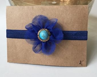 Handmade headband, blue vintage flower headband, baby head band 0-12 mth sizing avail