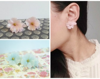 Pink Flower Earrings, Bridesmaids Gift, Bridesmaid Jewelry, Bridesmaid Earrings, Wedding, Unique, Sakura, Japanese, Cherry Blossom, clip on