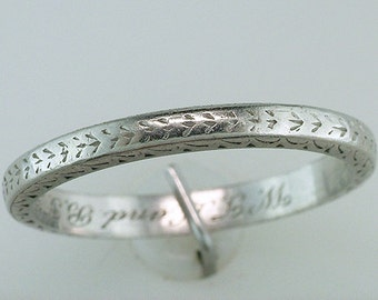 Vintage Antique Platinum Art Deco Engraved Eternity Wedding/Anniversary Ring Band