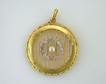 Vintage Antique 1/5ct Diamond & Pearl 18K Yellow Gold Art Deco Filigree Pendant