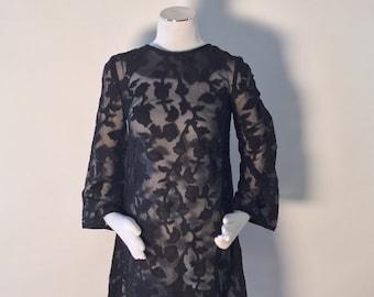 Vintage Black Sheer Floral Pattern A-Line Dress, Size Small