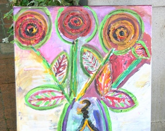 Abstract Colorful Painting of Flowers