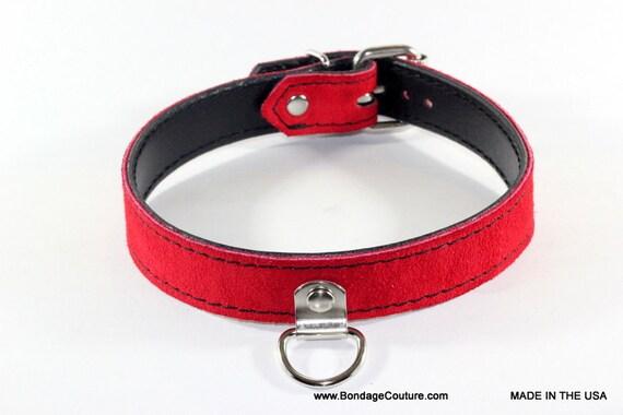 Red leather bondage colloers