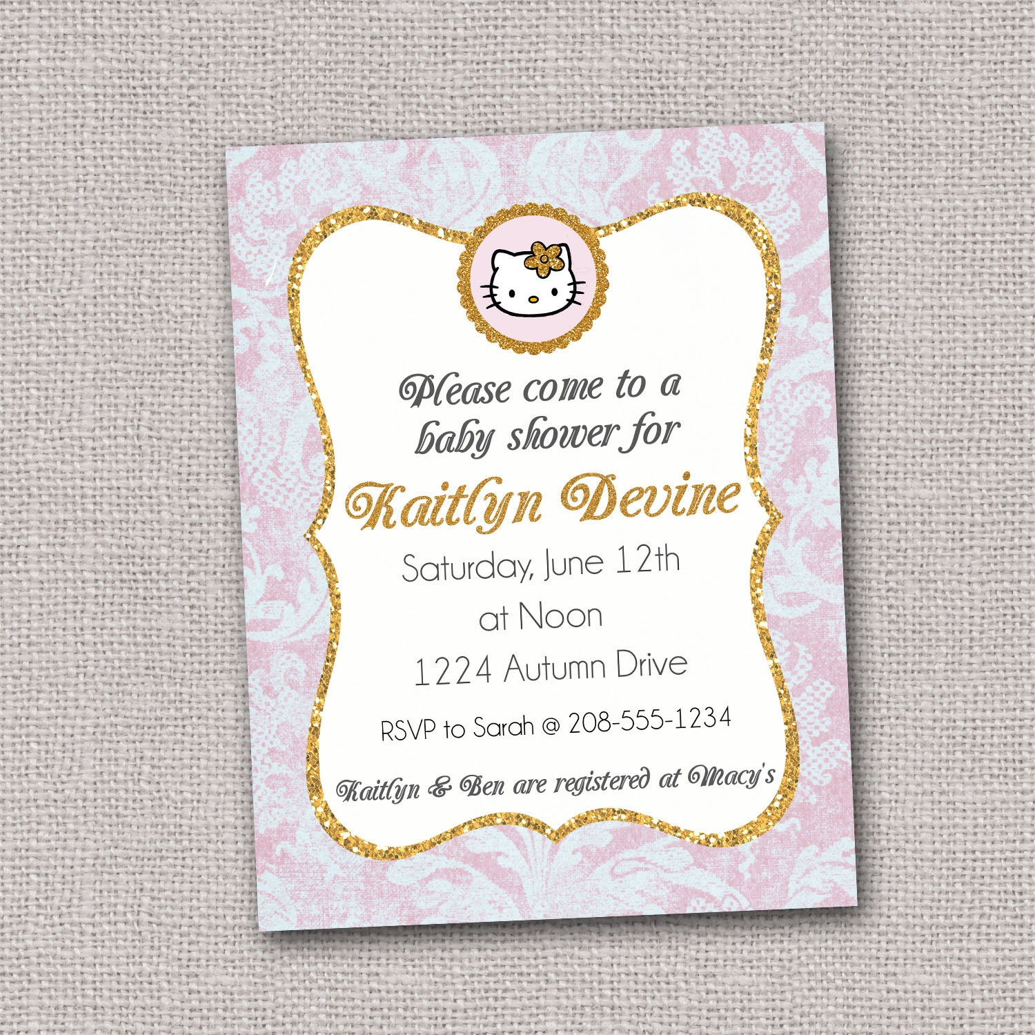 hello kitty baby shower invitation glitter shabby by lucky7dsigns