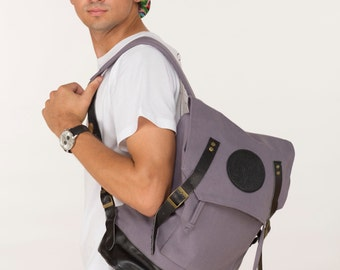Canvas Backpack in Stone  + Basic Crew Neck T-Shirt