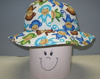 Toddlers' Child Reversible Sun Hat, Urban Zoologie Monkeys