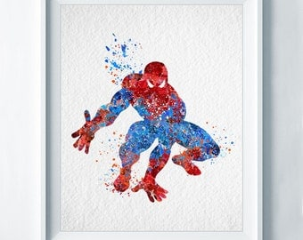 Spiderman Art Print Superhero Print Nursery Art Colorful Disney Home Decor Wall Art Watercolor Baby Shower Gift Boy Room Decor No 22