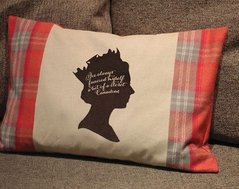 Queen Elizabeth Pillow with plaid flannel Canadian flag panels