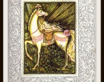Russian Fairy Tale Print #2 (1980s):  Fantasy Nursery Wall Art,  White Horse, Pink Flowers, Vintage Soviet Children's Book Illustration
