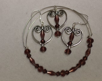 Red Purple Crystal and Heart Earrings on Sterling Silver Earwires with Adjustable Memory Wire Bracelet. (S-150047)