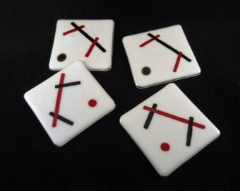 Fused Glass Coasters, (w/ Stand)