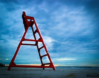 Beach Photography, Lifeguard Chair at Jacksonville Beach, FL