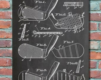 Golf Clubs Wall Art Print, Patent Art, Patent Poster, Blueprint, Patent Print, Plexity Prints #074