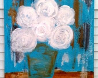 White Roses painting, original flower painting, Turquoise painting, original canvas,  flower painting