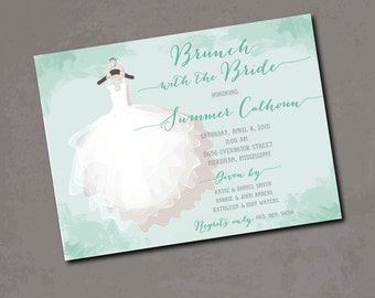 Brunch with the Bride Invitation / digital file / printable / wording and ink colors can be customized