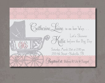 Vintage Baby Girl Shower Invitation printable/Digital File/pink and gray, carriage, girl  shower, monogram/Wording & Colors can be changed