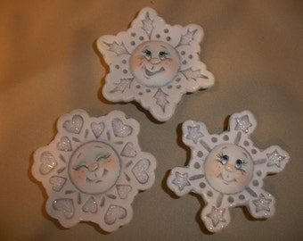 refrigerator snowflake magnets,set of 3,glittering,Christmas decoration