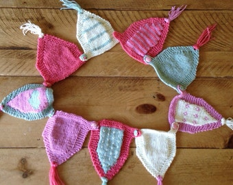 Patterned knitted bunting colourful heart flower handmade homemade gift