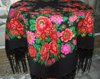 Vintage Pavlovo Posad Black Wool Floral Shawl/Russian Fringes Shawl/Ukrainian Shawl/Floral Rose /Folk Scarf with Tassels/Babushka Scraf