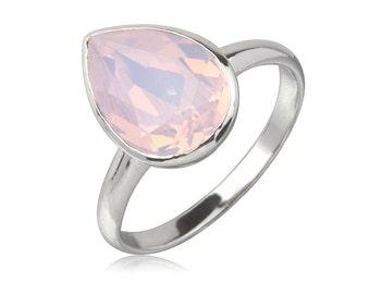 Rose Water Opal Tear Drop 14x10mm Ring
