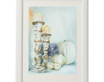 "Still life, watercolor painting, original painting, still life with candlestick, harmonic watercolor, handmade, pumpkin, flower 12,5x8,5"""