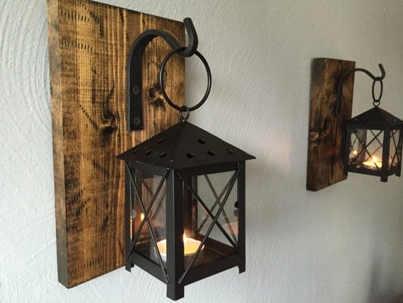 Rustic Candle Lantern Sconces