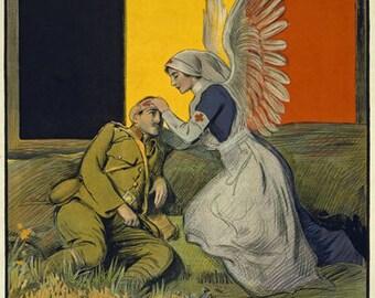 WA31 Vintage WWI Belgium Red Cross Nurse Fund Raising World War 1 Poster Re-Print Wall Decor A1/A2/A3/A4