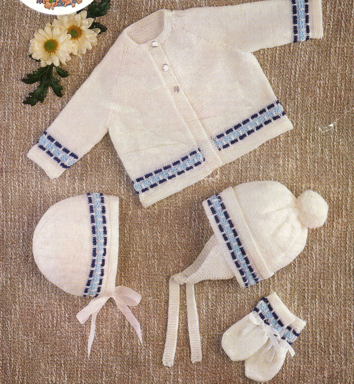 Knitting Pattern For Vintage Baby Bonnet : Knit Baby Jacket Bonnet Helmet Mitts Vintage Knitting Pattern
