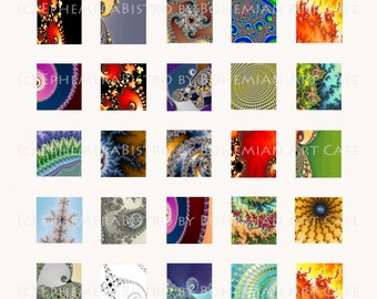 1x1 Digital Collage Sheet, Instant Download, Colorful Fractal Inchies, Fractal Digital Art Inchies, Fractal Digital Download, Inchies