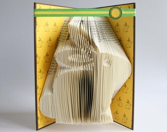 Easter Bunny Book Folding Pattern: Includes free printable downloads (pdf) to personalise your book art and  full step by step tutorial.