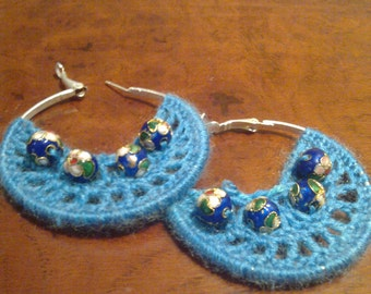 Crocheted circle earrings with cloisonne beads