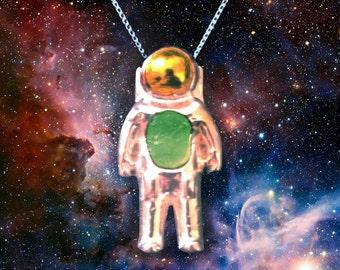 Moldavite Astronaut Pendant - Sterling Silver