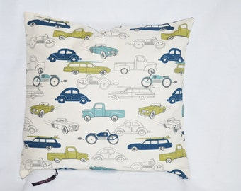 Cars Accent Throw Pillow  with insert and hidden zipper. Sold with or Without insert