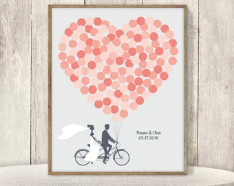Wedding Guest Book Alternative Poster / Coral Pink Balloon Heart, Couple on Tandem Bike Wedding Sign ▷ Printable File {or} Printed & Shipped