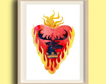 Stannis Baratheon Posters / Painting, with sigil and word, watercolor paint
