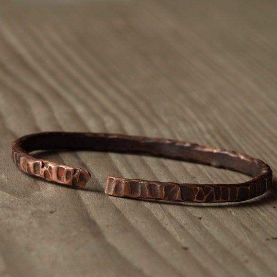 Forged copper bracelet or arm hammered by bohemiamade