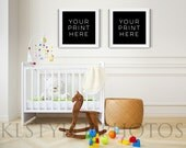 Nursery / Crib / Empty frames / Square Frames  /Marketing/ Styled Photo /Styled Room/ Interior Wall / Styled Stock/ /Baby Room Stock