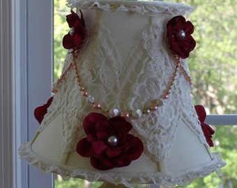 Shabby Chic Romantic Boudoir Lampshade Satin Flowers and Vintage Jewels Free Shipping