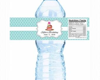 Quatrefoil Sweet 16 Cupcake Birthday Water Bottle Labels - Sweet 16 Decor, Sweet 16 Decorations, Sweet 16 Bottle Labels, Sweet 16 stickers