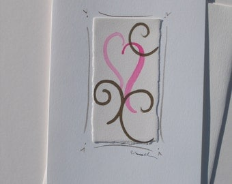 Valentines day card, original watercolor with heart