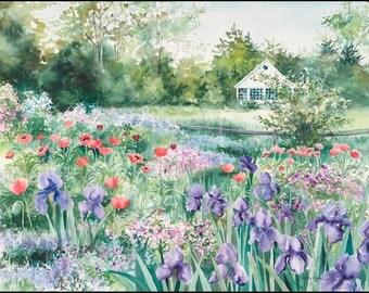 Garden wall art, watercolor painting,garden painting, iris painting, poppy painting, landscape painting