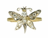 Butter Lane Conversions Collection Antique Victorian English 18ct Gold Diamond Butterfly Conversion Ring c1900