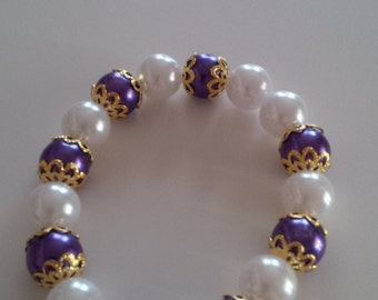 Beaded Bracelet in Purple and White  (#46)