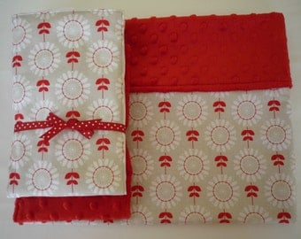 Minky Baby Blanket... gray, red and white Baby Girl Blanket....Red Minky back..Monograming available...modern chic for baby..burp cloths too