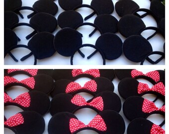 Minnie Mickey Mouse Inspired Bow Headband With red and white polka dot bow and plain Mickey Mouse ears for favors or Disney Trip SET OF 12