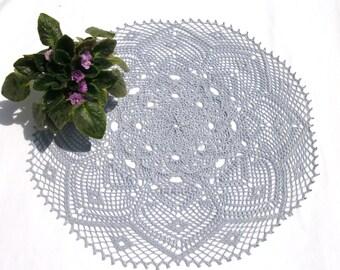 Big crochet doily 23 inches Table topper Crochet table topper Blue round doily Lace doily Living room décor Blue lace doily Table décor