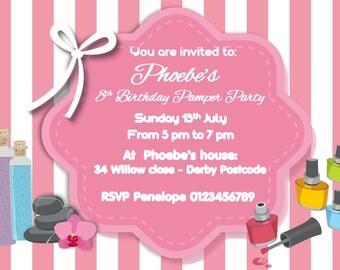 printed personalised birthday pamper party invitations x10 - Pamper Party Invitations